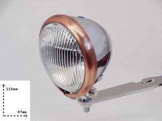 Faro auxiliar homologado cromado - cobre